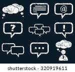 chat icon set  white scratched...