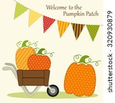 cute pumpkin patch card with... | Shutterstock .eps vector #320930879