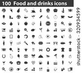 100 food and drinks icons ... | Shutterstock . vector #320934599