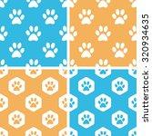 animal paw pattern set  simple...