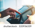 mock up of tablet in girl s... | Shutterstock . vector #320936339