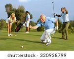 happy senior golfer following... | Shutterstock . vector #320938799