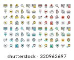 flat line colorful icons... | Shutterstock .eps vector #320962697