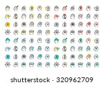 flat line colorful icons... | Shutterstock .eps vector #320962709
