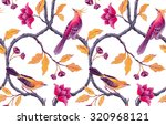 chinoiserie birds and flowers... | Shutterstock . vector #320968121