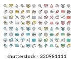 flat line colorful icons... | Shutterstock .eps vector #320981111