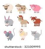 Farm Animals. Vector Flat Icon...