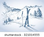 ski background  mountains in... | Shutterstock .eps vector #321014555