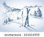 Ski Background  Mountains In...