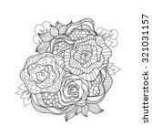 doodle art flowers. zentangle... | Shutterstock .eps vector #321031157