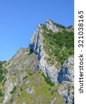 Small photo of Mountain in the Pic du gar area in the pyrenees mountains cliff and forest, France