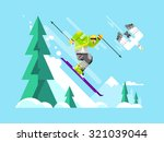 cartoon character skier. sport... | Shutterstock .eps vector #321039044