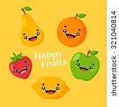 happy cartoon fruits  apple ... | Shutterstock .eps vector #321040814