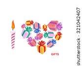 i love gifts. symbol of heart...   Shutterstock . vector #321042407