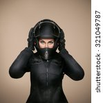 girl motorcyclist in a black... | Shutterstock . vector #321049787