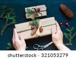 wrapped christmas presents on... | Shutterstock . vector #321053279