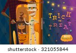 halloween evening time. trick... | Shutterstock .eps vector #321055844