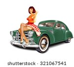 pin up girl and retro car... | Shutterstock .eps vector #321067541