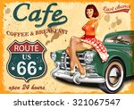 cafe route 66 vintage poster | Shutterstock .eps vector #321067547