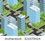isometric seamless city pattern  | Shutterstock .eps vector #321070424