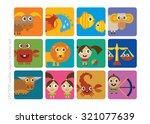 zodiac signs   cartoon set ... | Shutterstock .eps vector #321077639