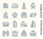 buildings icon set | Shutterstock .eps vector #321078041