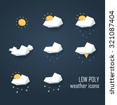 low poly weather icons set....
