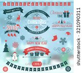 christmas set labels emblems on ... | Shutterstock .eps vector #321090311