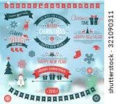christmas set labels emblems on ... | Shutterstock .eps vector #321090311