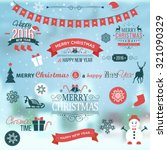 christmas set labels emblems on ... | Shutterstock .eps vector #321090329