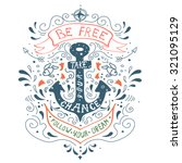 hand drawn vintage label with... | Shutterstock .eps vector #321095129