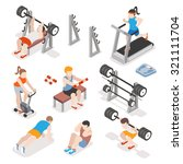 isometric gym workout flat... | Shutterstock .eps vector #321111704