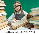 little student girl studying at ... | Shutterstock . vector #321116231