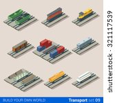 flat 3d isometric railroad... | Shutterstock .eps vector #321117539