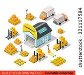 flat 3d isometric warehouse... | Shutterstock .eps vector #321117584