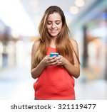 happy young cute woman typing a ... | Shutterstock . vector #321119477