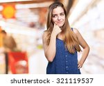 young pretty woman thinking on... | Shutterstock . vector #321119537