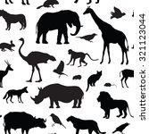 Stock vector animals silhouette seamless pattern wildlife tiled textured background african animals seamless 321123044