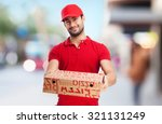 pizza dealer with pizza boxes | Shutterstock . vector #321131249