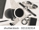 a cup of black coffee and... | Shutterstock . vector #321132314