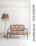 brown vintage sofa and lamp on... | Shutterstock . vector #321134249