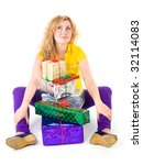 happy woman sitting with pile... | Shutterstock . vector #32114083