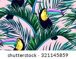 toucan  exotic birds  tropical... | Shutterstock .eps vector #321145859