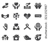 charity  and love icons | Shutterstock .eps vector #321152987