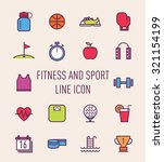 set of fitness and sport...