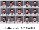 collage of young hipster man...   Shutterstock . vector #321157064