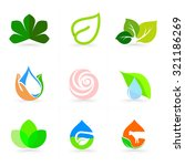 eco logo vector set. leaves... | Shutterstock .eps vector #321186269