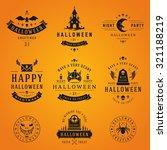 set vintage happy halloween... | Shutterstock .eps vector #321188219