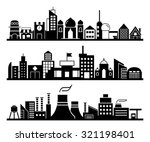 set of silhouette cityscapes ... | Shutterstock .eps vector #321198401