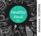 healthy food diet blackboard... | Shutterstock .eps vector #321209261